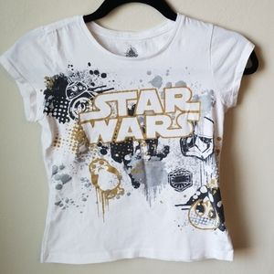 Disney Store girl's Star Wars T, gold, silver, blk